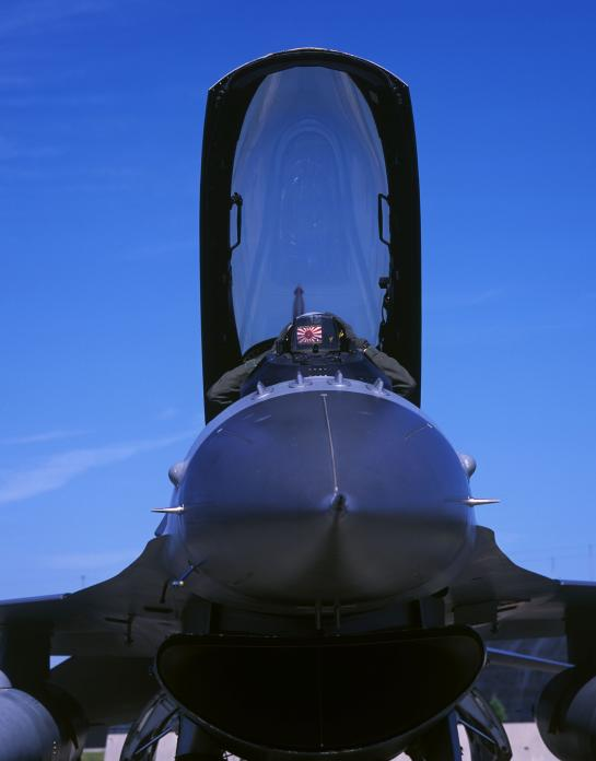 Rising sun symbol worn by USAF F-16 pilot, Misawa, Japan. 2008