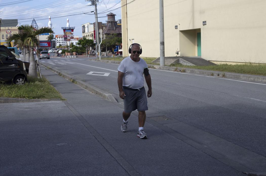 American with Headphones, Chatan, Okinawa. 2014