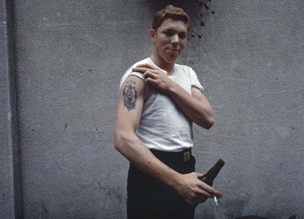 American Sailor with US Navy tattoo, Yokosuka, Japan, 1976